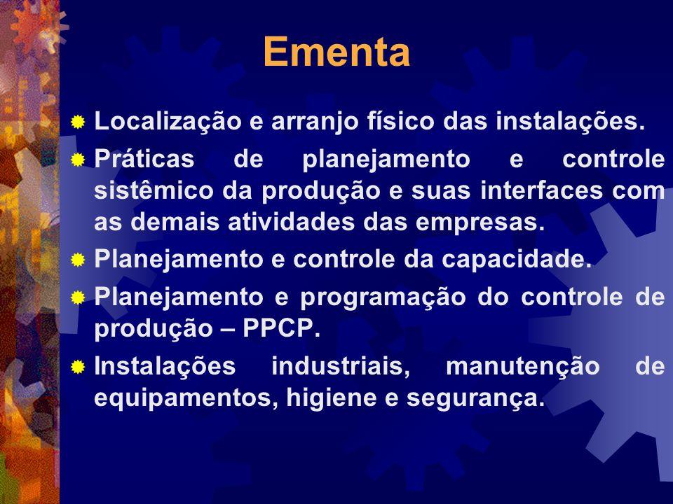 Ementa Localização e arranjo físico das instalações. Práticas de planejamento e controle sistêmico da produção e suas interfaces com as demais ativida