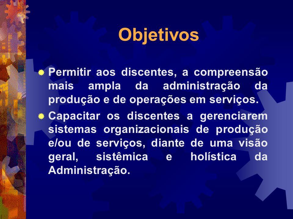 Objetivos Permitir aos discentes, a compreensão mais ampla da administração da produção e de operações em serviços. Capacitar os discentes a gerenciar