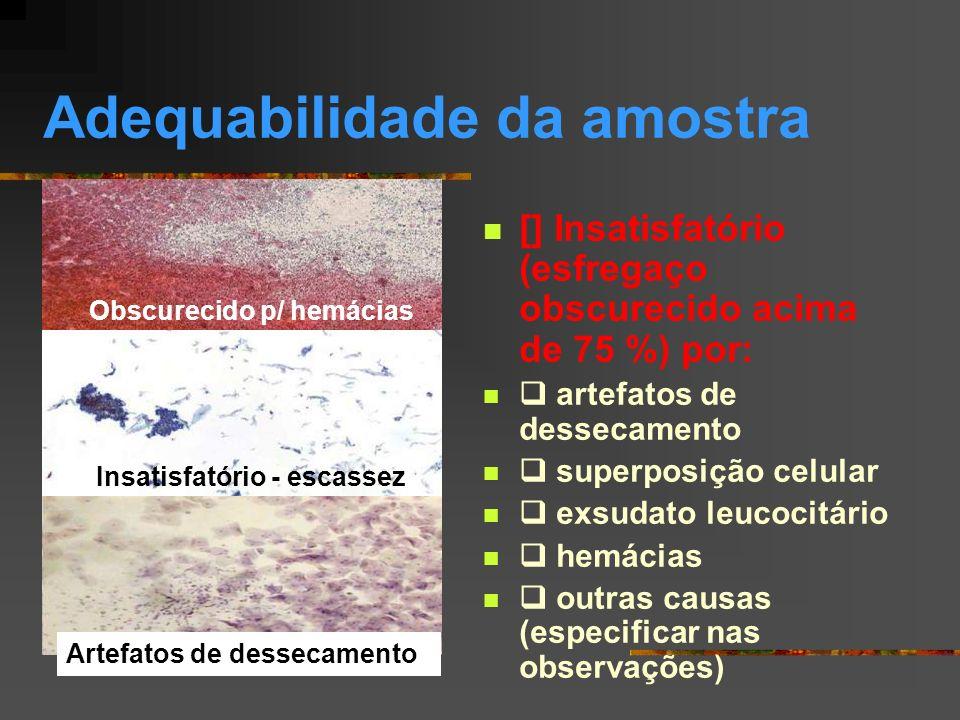 [ ] ALTERAÇÕES CELULARES BENIGNAS [ ] Inflamação [ ] Reparação [ ] Metaplasia escamosa imatura [ ] Atrofia com inflamação [ ] Radiação [ ] Outros [ ] DENTRO DOS LIMITES DA NORMALIDADE NO MATERIAL EXAMINADO Normal – células metaplásicas Normal – células escamosas