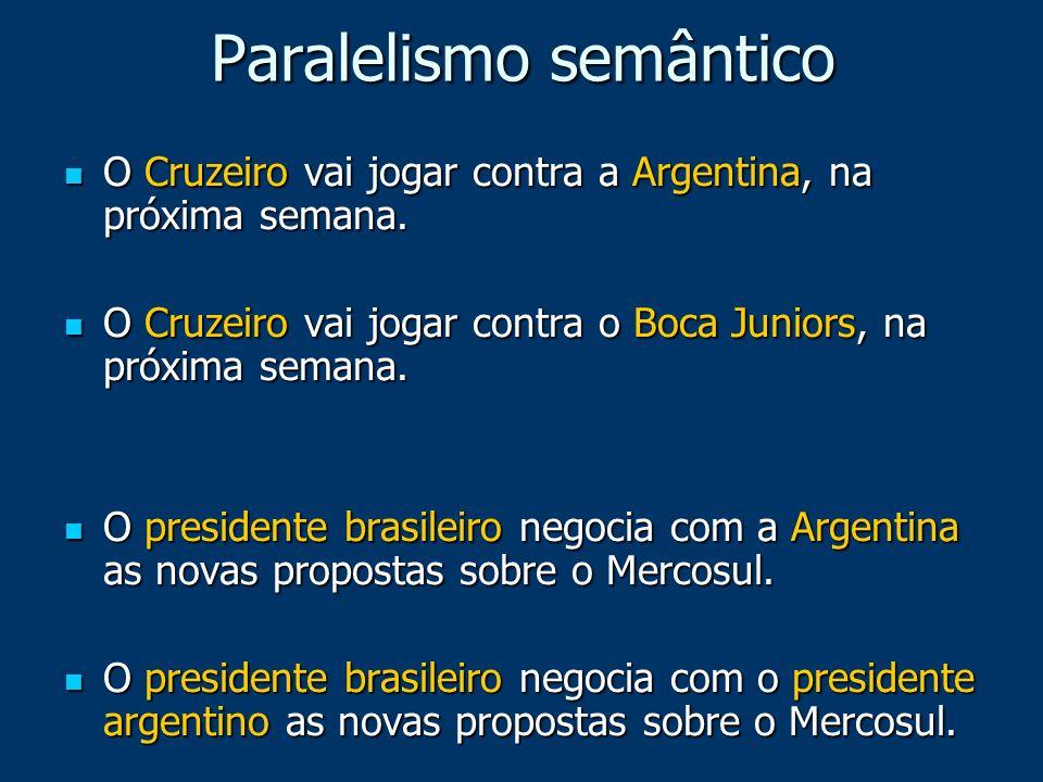 Paralelismo semântico O Cruzeiro vai jogar contra a Argentina, na próxima semana. O Cruzeiro vai jogar contra a Argentina, na próxima semana. O Cruzei