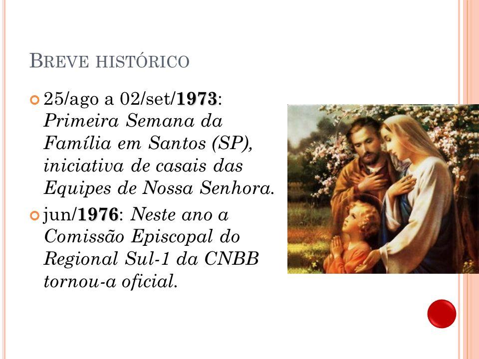 B REVE HISTÓRICO 3 Comece em sua casa 1977 : Semana da Família com o tema da CF – Comece em sua casa.