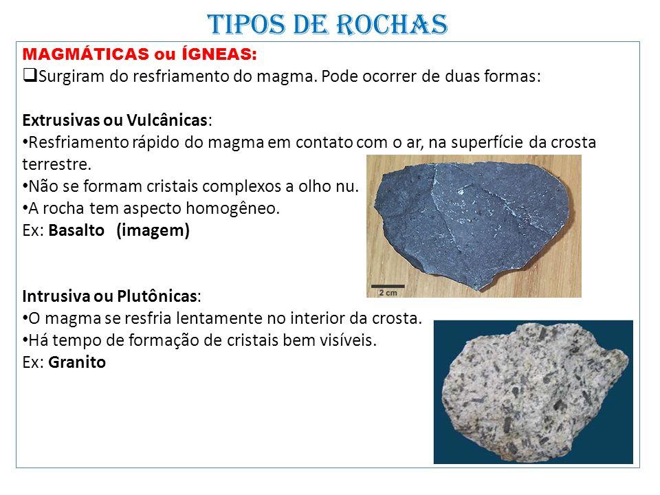 TIPOS DE ROCHAS MAGMÁTICAS ou ÍGNEAS: Surgiram do resfriamento do magma. Pode ocorrer de duas formas: Extrusivas ou Vulcânicas: Resfriamento rápido do