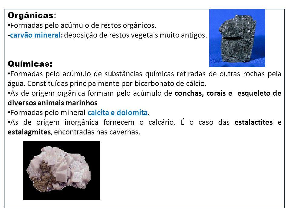 Orgânicas : Formadas pelo acúmulo de restos orgânicos. -carvão mineral: deposição de restos vegetais muito antigos. Químicas: Formadas pelo acúmulo de