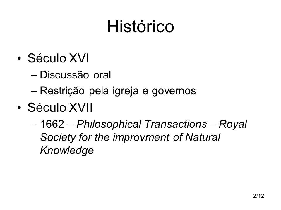 2/12 Histórico Século XVI –Discussão oral –Restrição pela igreja e governos Século XVII –1662 – Philosophical Transactions – Royal Society for the imp