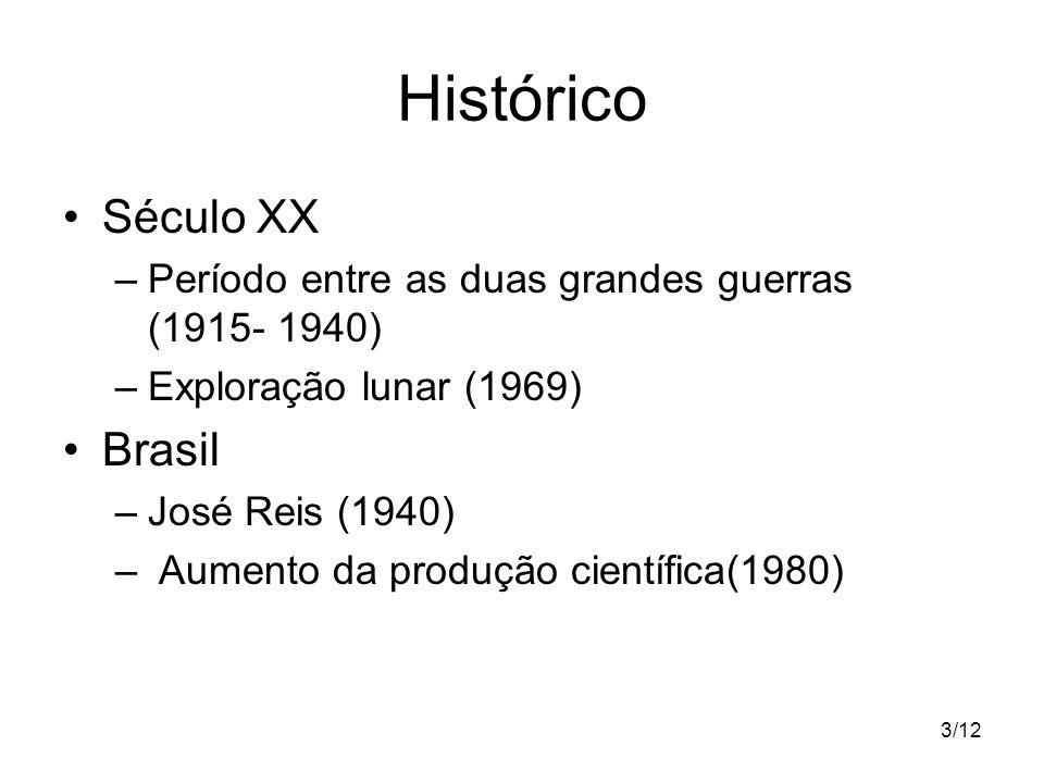 3/12 Histórico Século XX –Período entre as duas grandes guerras (1915- 1940) –Exploração lunar (1969) Brasil –José Reis (1940) – Aumento da produção c