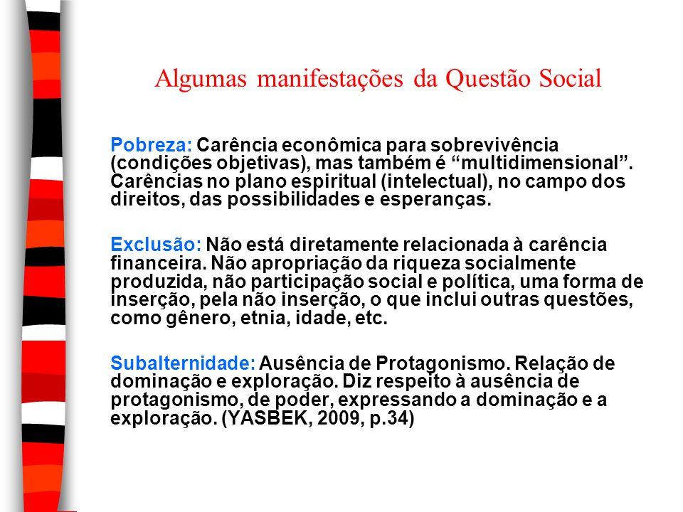 Algumas manifestações da Questão Social Pobreza: Carência econômica para sobrevivência (condições objetivas), mas também é multidimensional. Carências
