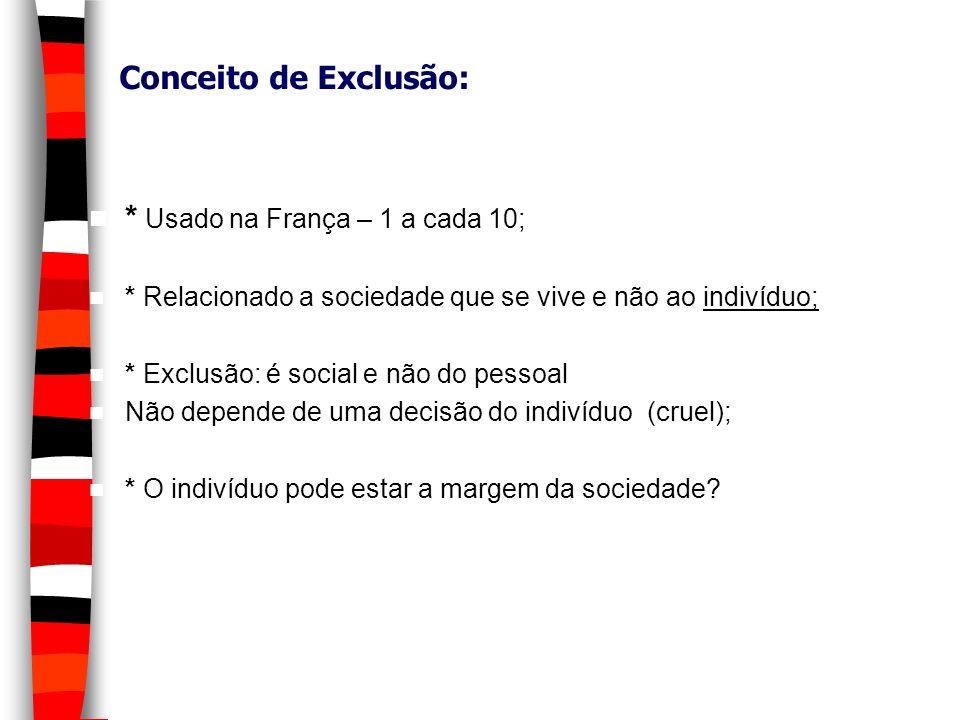 Conceito de Exclusão: * Usado na França – 1 a cada 10; * Relacionado a sociedade que se vive e não ao indivíduo; * Exclusão: é social e não do pessoal