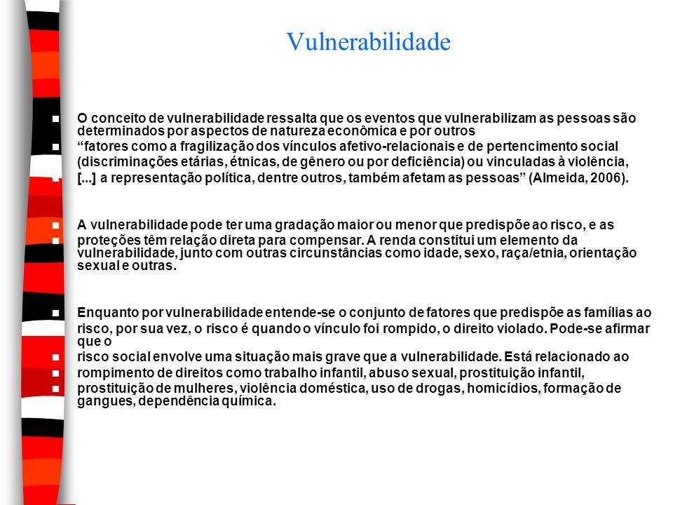 Vulnerabilidade O conceito de vulnerabilidade ressalta que os eventos que vulnerabilizam as pessoas são determinados por aspectos de natureza econômic