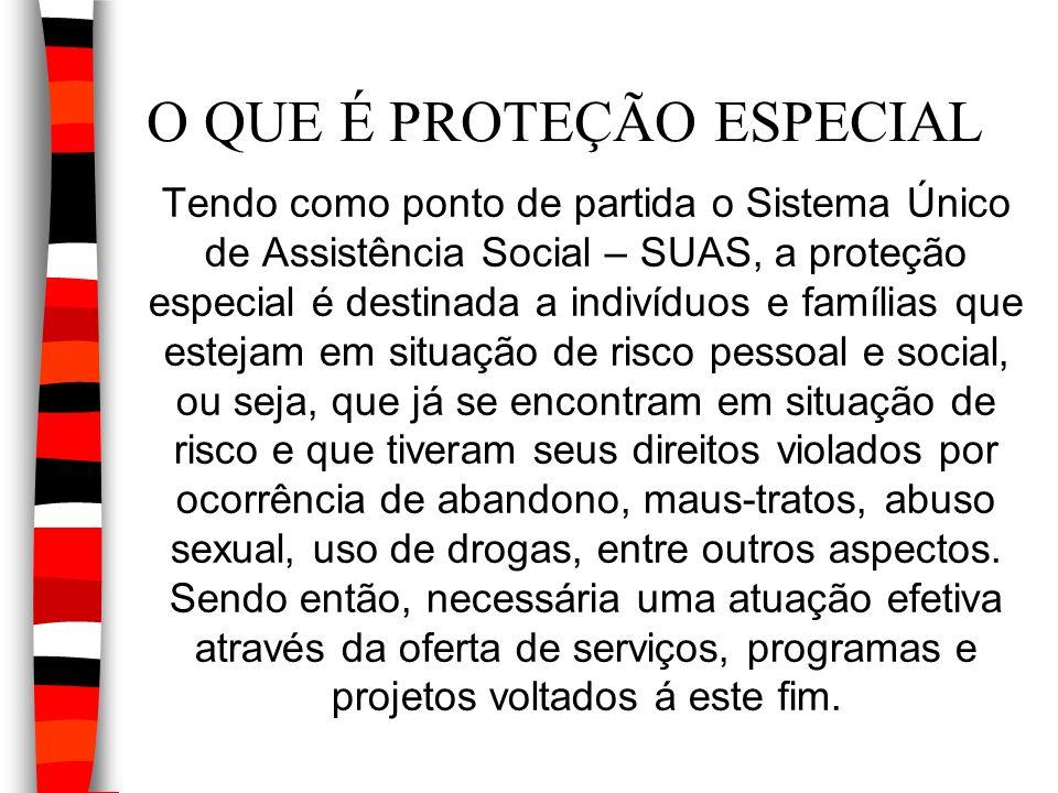 O QUE É PROTEÇÃO ESPECIAL Tendo como ponto de partida o Sistema Único de Assistência Social – SUAS, a proteção especial é destinada a indivíduos e fam