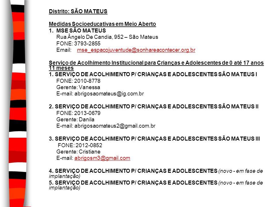 Distrito: SÃO MATEUS Medidas Socioeducativas em Meio Aberto 1. MSE SÃO MATEUS Rua Ângelo De Candia, 952 – São Mateus FONE: 3793-2855 Email: mse_espaco