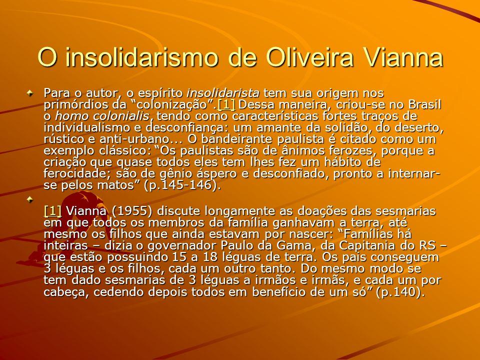 O insolidarismo de Oliveira Vianna Para o autor, o espírito insolidarista tem sua origem nos primórdios da colonização.[1] Dessa maneira, criou-se no