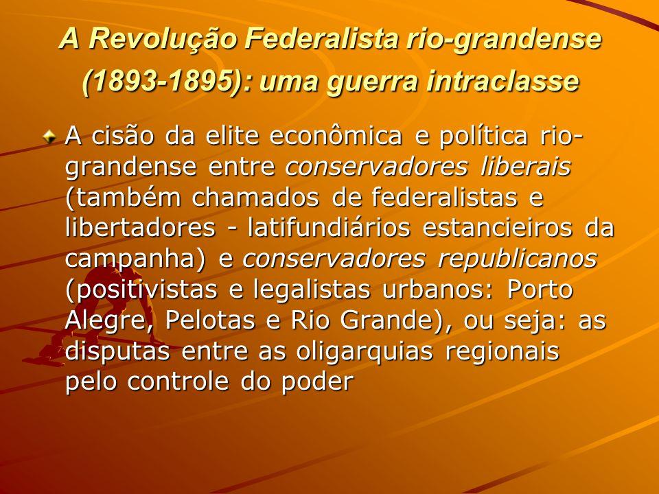 A Revolução Federalista rio-grandense (1893-1895): uma guerra intraclasse A cisão da elite econômica e política rio- grandense entre conservadores lib