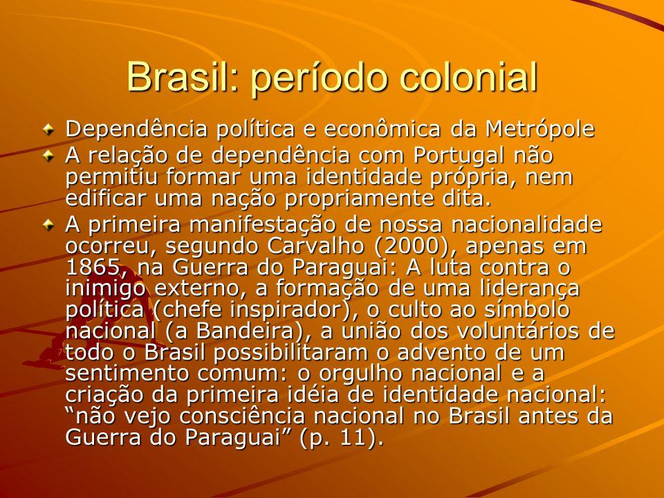 Brasil: período colonial Dependência política e econômica da Metrópole A relação de dependência com Portugal não permitiu formar uma identidade própri