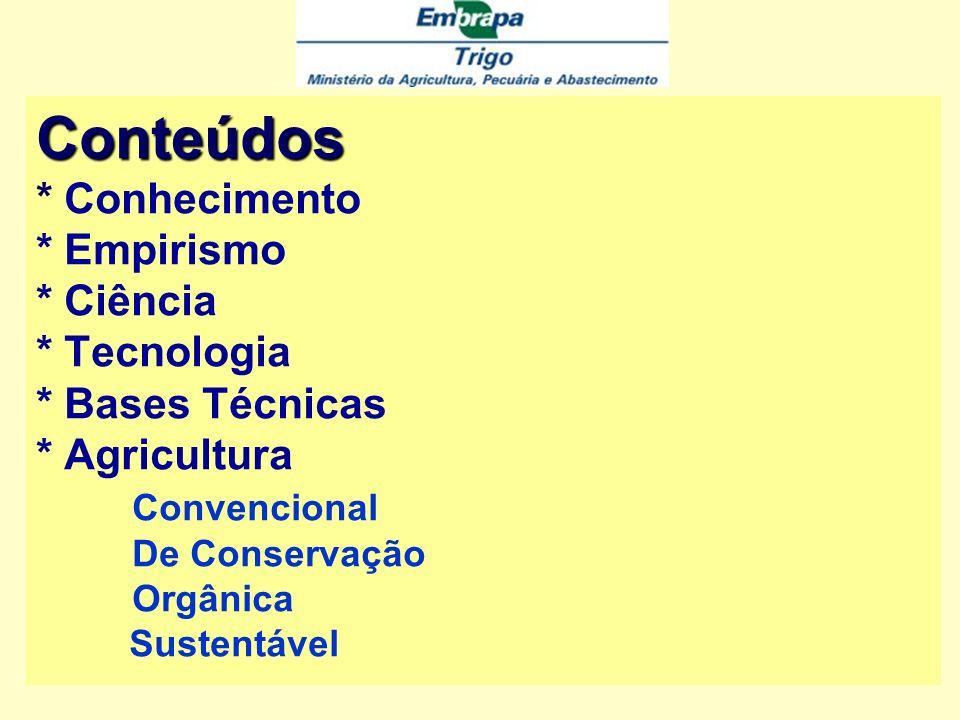 Conteúdos Conteúdos * Conhecimento * Empirismo * Ciência * Tecnologia * Bases Técnicas * Agricultura Convencional De Conservação Orgânica Sustentável