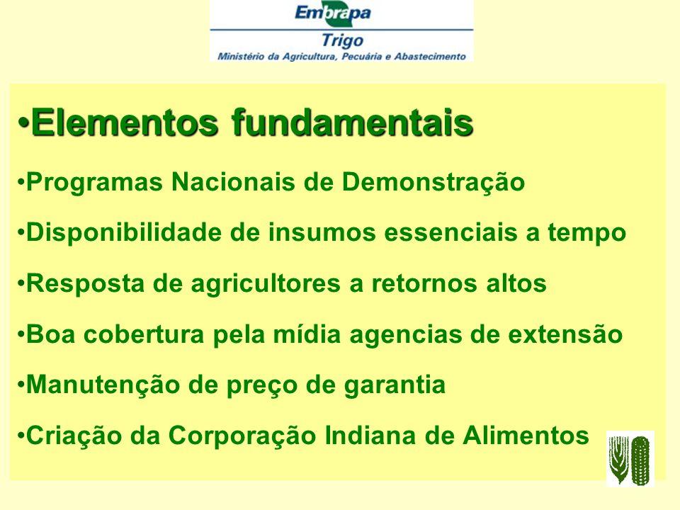 Elementos fundamentais Reconhecimento do valor dos trigos anãos; Programas de investigação coordenados; Disponibilização rápida de práticas agronômica