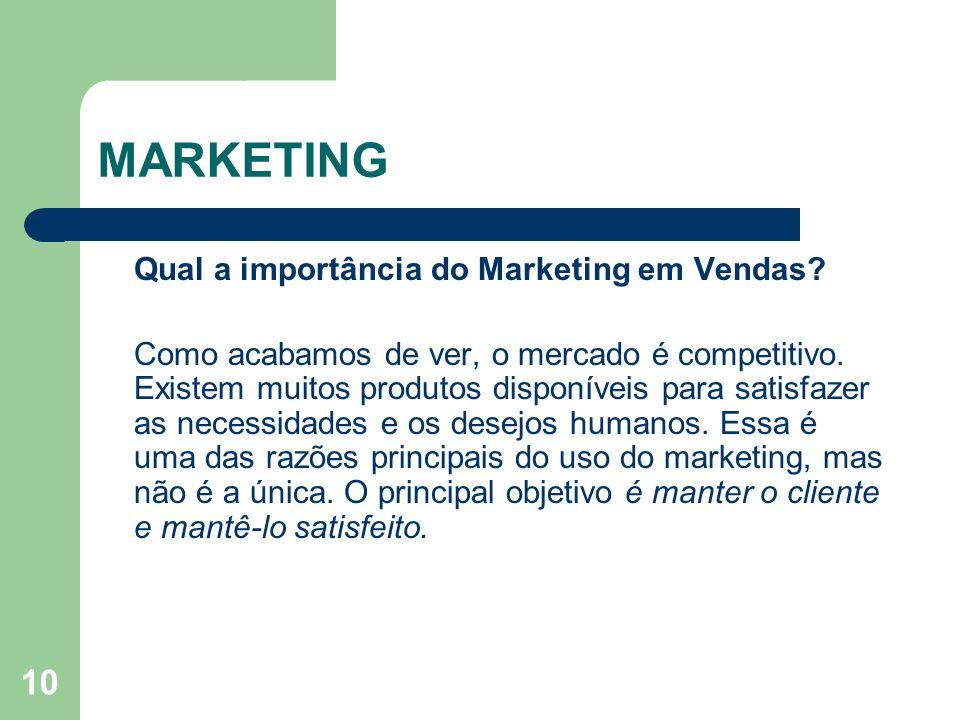 10 MARKETING Qual a importância do Marketing em Vendas? Como acabamos de ver, o mercado é competitivo. Existem muitos produtos disponíveis para satisf