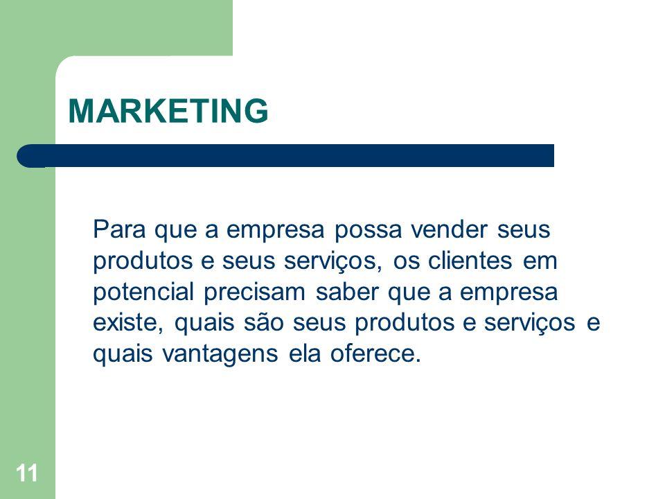 11 MARKETING Para que a empresa possa vender seus produtos e seus serviços, os clientes em potencial precisam saber que a empresa existe, quais são se