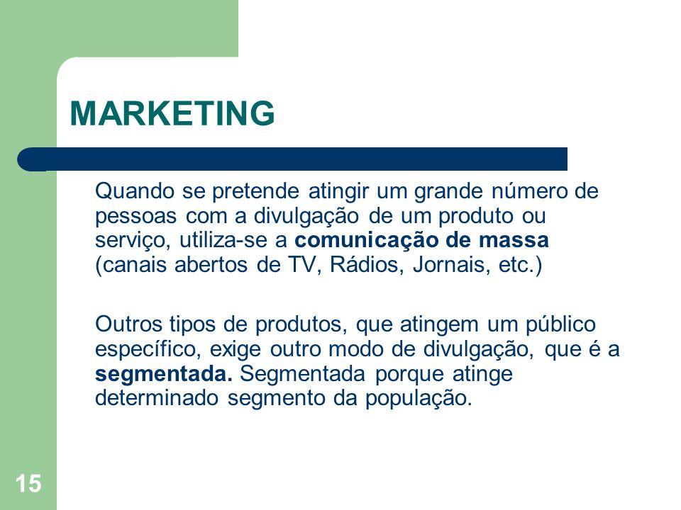 15 MARKETING Quando se pretende atingir um grande número de pessoas com a divulgação de um produto ou serviço, utiliza-se a comunicação de massa (cana