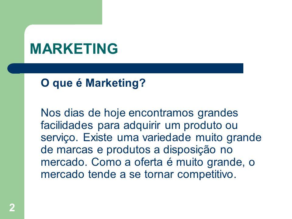 2 O que é Marketing? Nos dias de hoje encontramos grandes facilidades para adquirir um produto ou serviço. Existe uma variedade muito grande de marcas