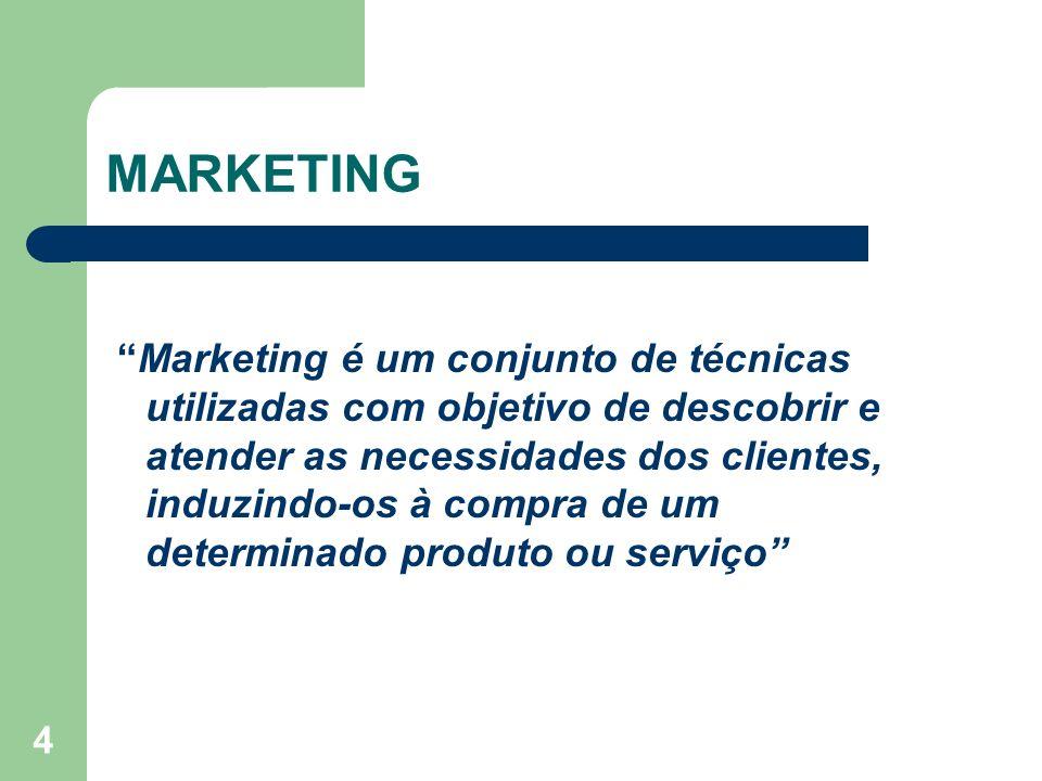 4 MARKETING Marketing é um conjunto de técnicas utilizadas com objetivo de descobrir e atender as necessidades dos clientes, induzindo-os à compra de