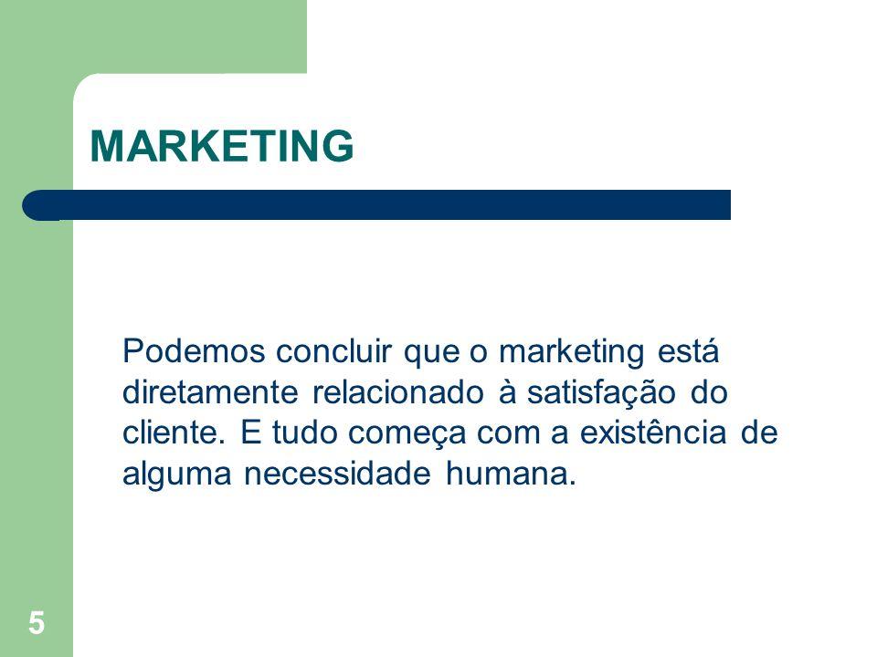 5 MARKETING Podemos concluir que o marketing está diretamente relacionado à satisfação do cliente. E tudo começa com a existência de alguma necessidad
