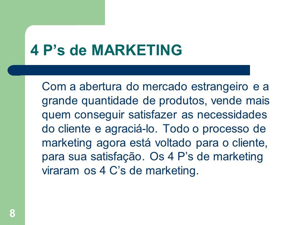 8 4 Ps de MARKETING Com a abertura do mercado estrangeiro e a grande quantidade de produtos, vende mais quem conseguir satisfazer as necessidades do c
