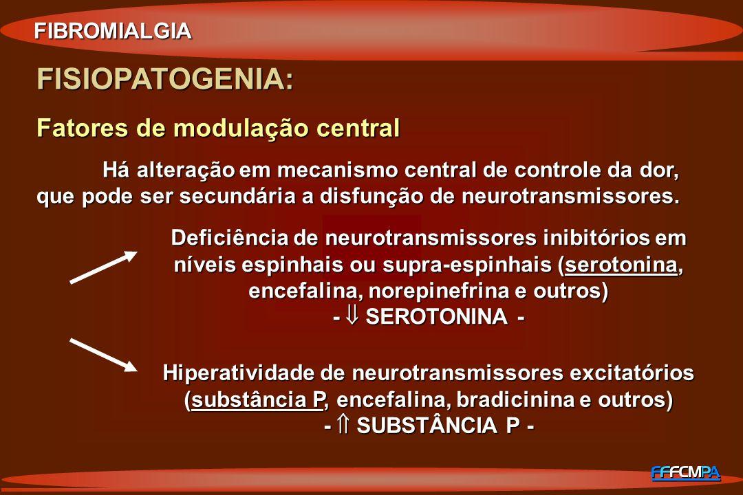FISIOPATOGENIA: Fatores de modulação central Há alteração em mecanismo central de controle da dor, que pode ser secundária a disfunção de neurotransmi