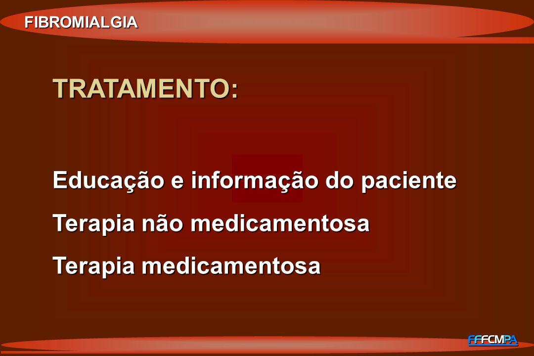 FIBROMIALGIA TRATAMENTO: Educação e informação do paciente Terapia não medicamentosa Terapia medicamentosa