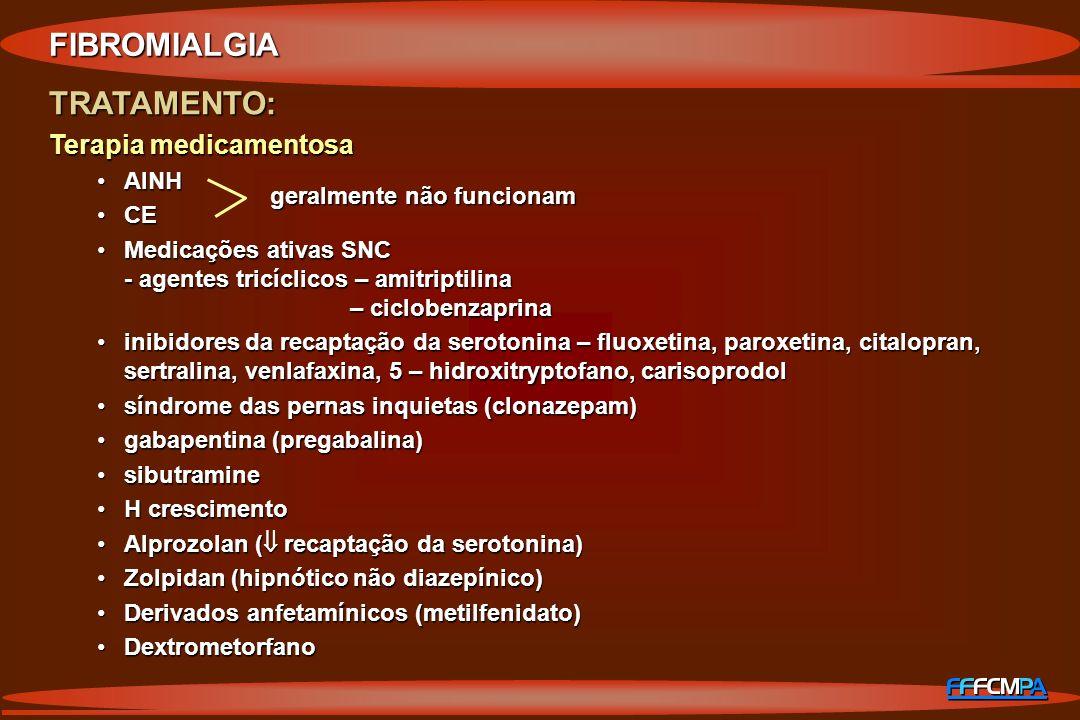 TRATAMENTO: Terapia medicamentosa AINHAINH CECE Medicações ativas SNC - agentes tricíclicos – amitriptilina – ciclobenzaprinaMedicações ativas SNC - a
