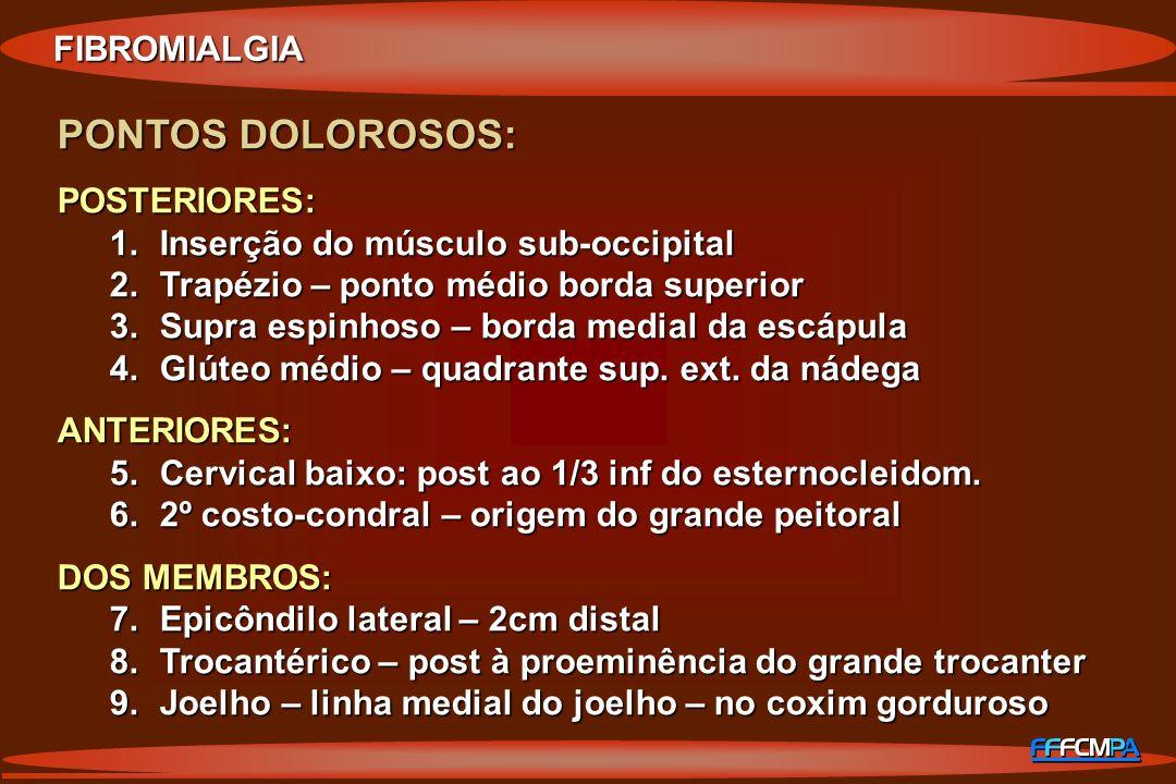 FIBROMIALGIA PONTOS DOLOROSOS: POSTERIORES: 1.Inserção do músculo sub-occipital 2.Trapézio – ponto médio borda superior 3.Supra espinhoso – borda medi
