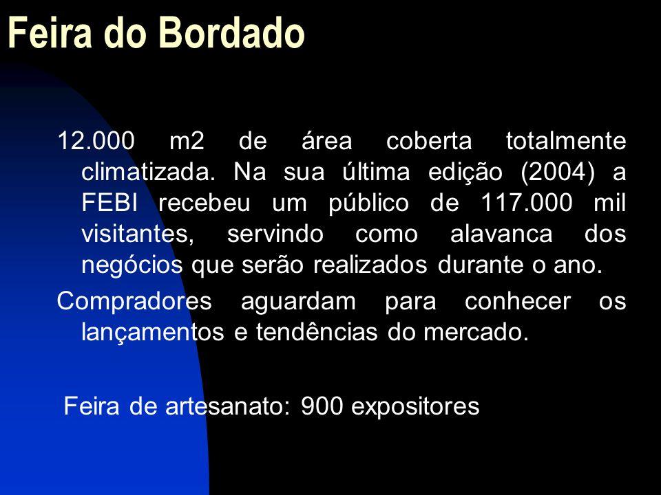 Feira do Bordado 12.000 m2 de área coberta totalmente climatizada. Na sua última edição (2004) a FEBI recebeu um público de 117.000 mil visitantes, se