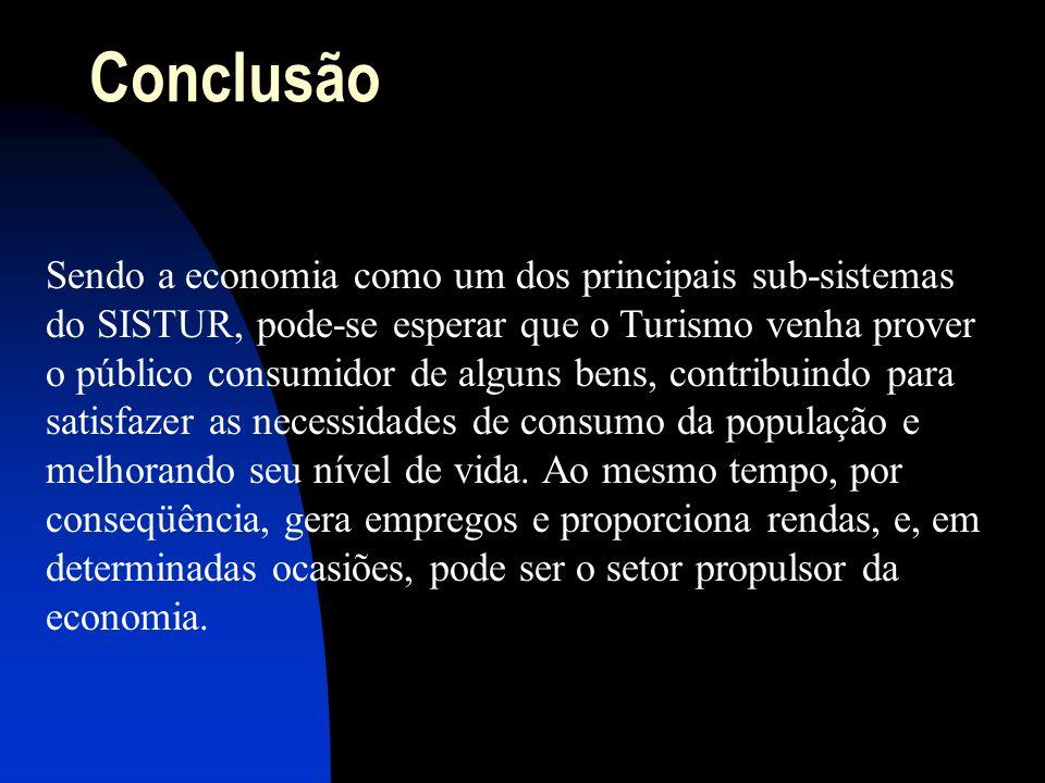 Conclusão Sendo a economia como um dos principais sub-sistemas do SISTUR, pode-se esperar que o Turismo venha prover o público consumidor de alguns be