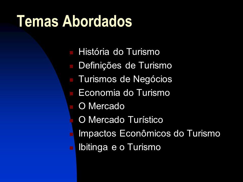 Temas Abordados História do Turismo Definições de Turismo Turismos de Negócios Economia do Turismo O Mercado O Mercado Turístico Impactos Econômicos d