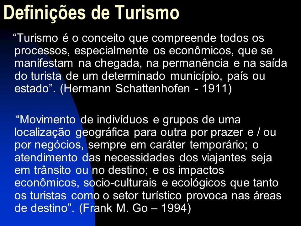Definições de Turismo Turismo é o conceito que compreende todos os processos, especialmente os econômicos, que se manifestam na chegada, na permanênci