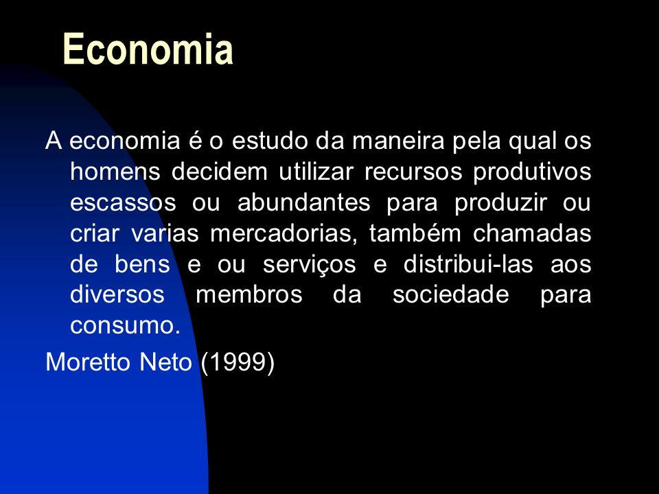 Economia A economia é o estudo da maneira pela qual os homens decidem utilizar recursos produtivos escassos ou abundantes para produzir ou criar varia