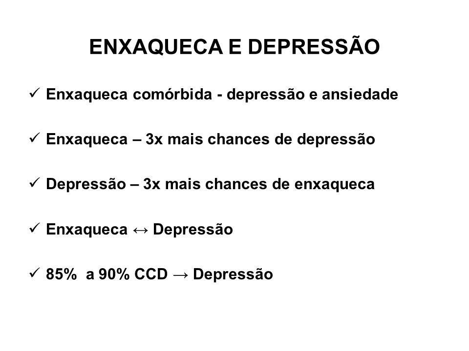 ENXAQUECA E DEPRESSÃO Enxaqueca comórbida - depressão e ansiedade Enxaqueca – 3x mais chances de depressão Depressão – 3x mais chances de enxaqueca En