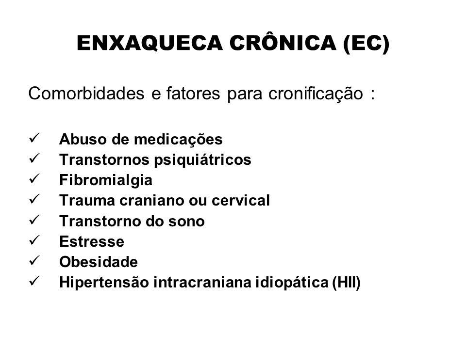 ENXAQUECA CRÔNICA (EC) Comorbidades e fatores para cronificação : Abuso de medicações Transtornos psiquiátricos Fibromialgia Trauma craniano ou cervic