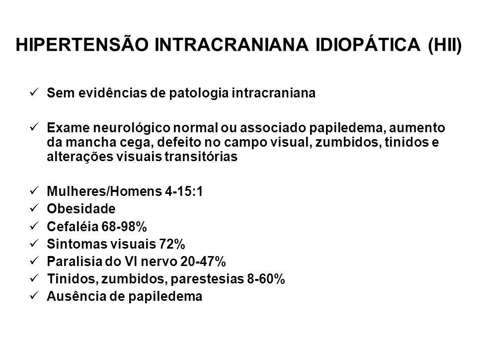 HIPERTENSÃO INTRACRANIANA IDIOPÁTICA SEM PAPILEDEMA (HIISP) Mecanismos para a ausência de papiledema: Defeito congênito da bainha do nervo óptico.
