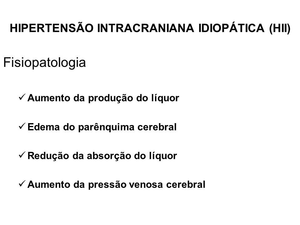 HIPERTENSÃO INTRACRANIANA IDIOPÁTICA (HII) Fisiopatologia Aumento da produção do líquor Edema do parênquima cerebral Redução da absorção do líquor Aum