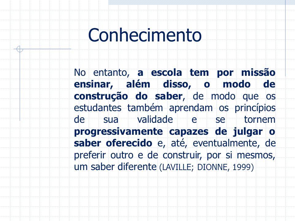 Conhecimento No entanto, a escola tem por missão ensinar, além disso, o modo de construção do saber, de modo que os estudantes também aprendam os prin