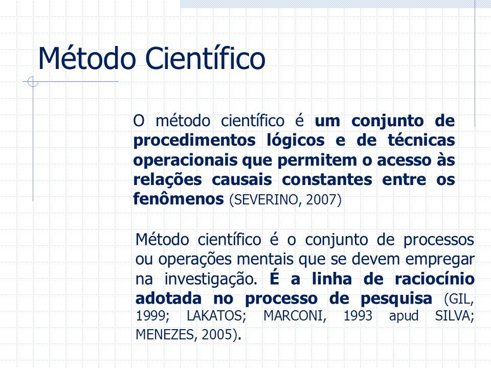 Método Científico O método científico é um conjunto de procedimentos lógicos e de técnicas operacionais que permitem o acesso às relações causais cons