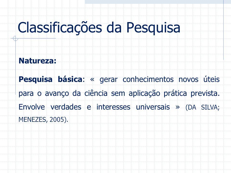 Classificações da Pesquisa Natureza: Pesquisa básica: « gerar conhecimentos novos úteis para o avanço da ciência sem aplicação prática prevista. Envol