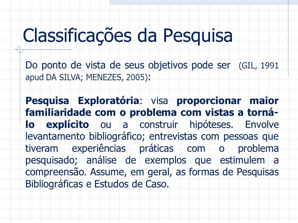 Classificações da Pesquisa Do ponto de vista de seus objetivos pode ser (GIL, 1991 apud DA SILVA; MENEZES, 2005) : Pesquisa Exploratória: visa proporc