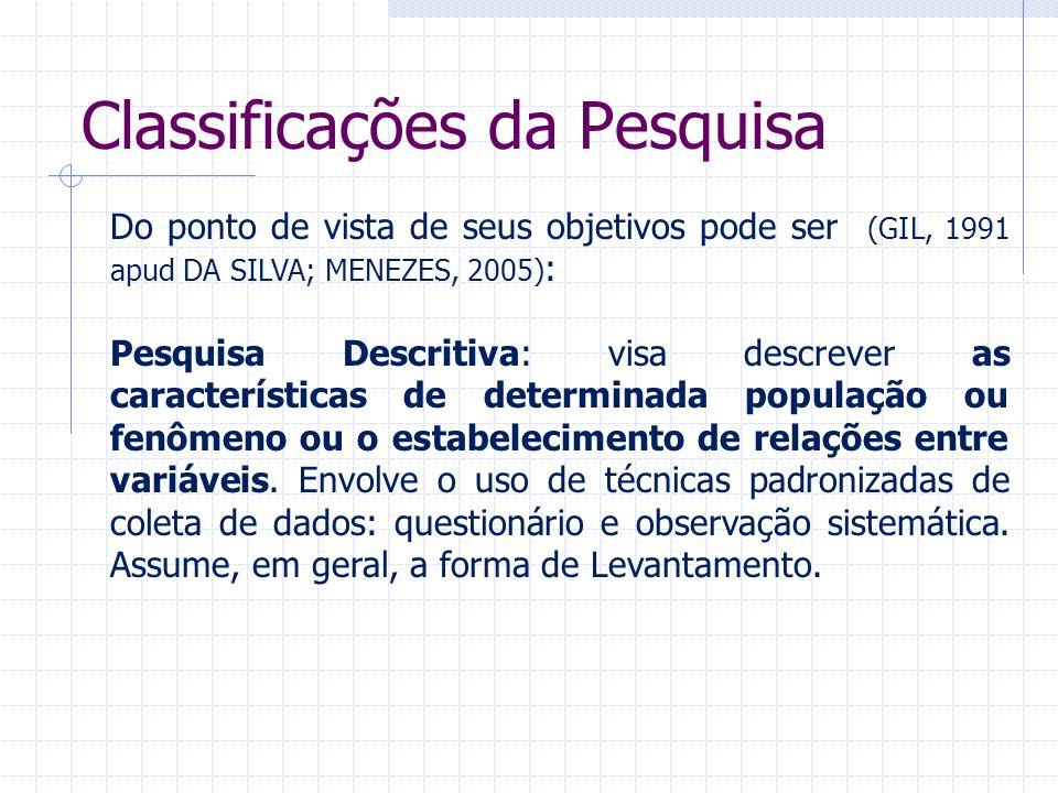 Classificações da Pesquisa Do ponto de vista de seus objetivos pode ser (GIL, 1991 apud DA SILVA; MENEZES, 2005) : Pesquisa Descritiva: visa descrever
