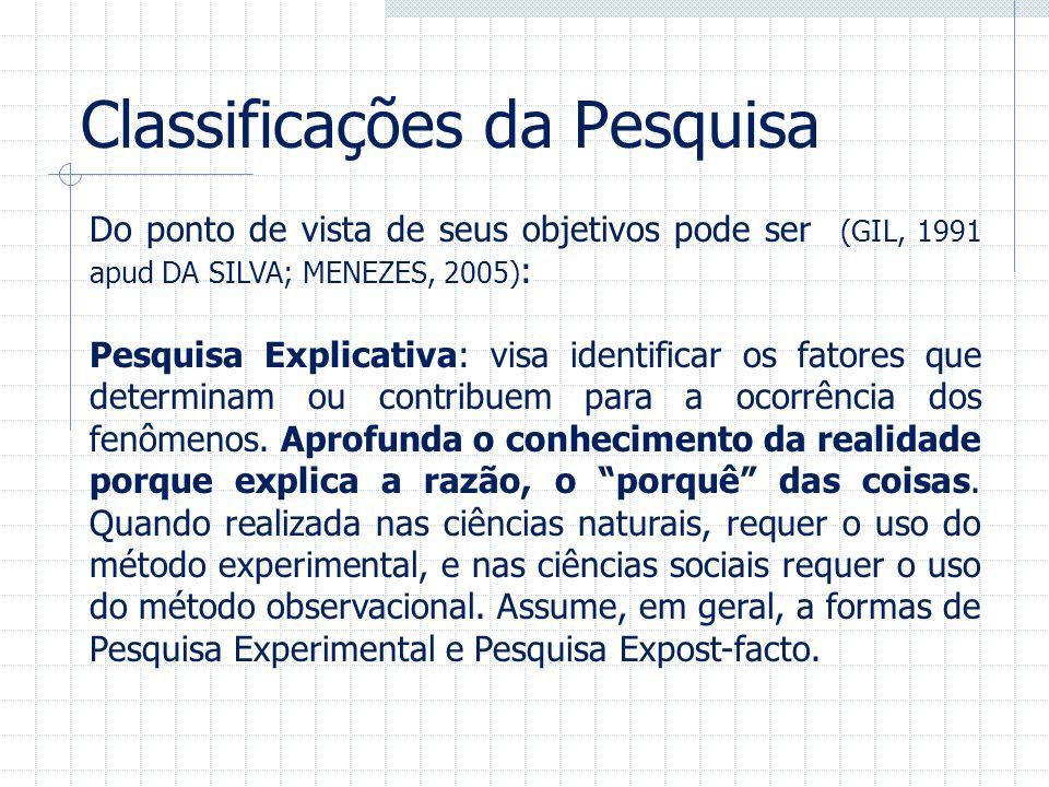 Classificações da Pesquisa Do ponto de vista de seus objetivos pode ser (GIL, 1991 apud DA SILVA; MENEZES, 2005) : Pesquisa Explicativa: visa identifi