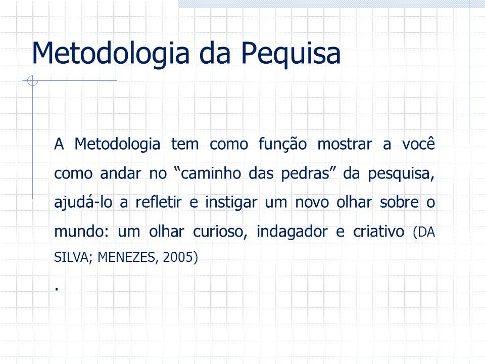 Metodologia da Pequisa A Metodologia tem como função mostrar a você como andar no caminho das pedras da pesquisa, ajudá-lo a refletir e instigar um no