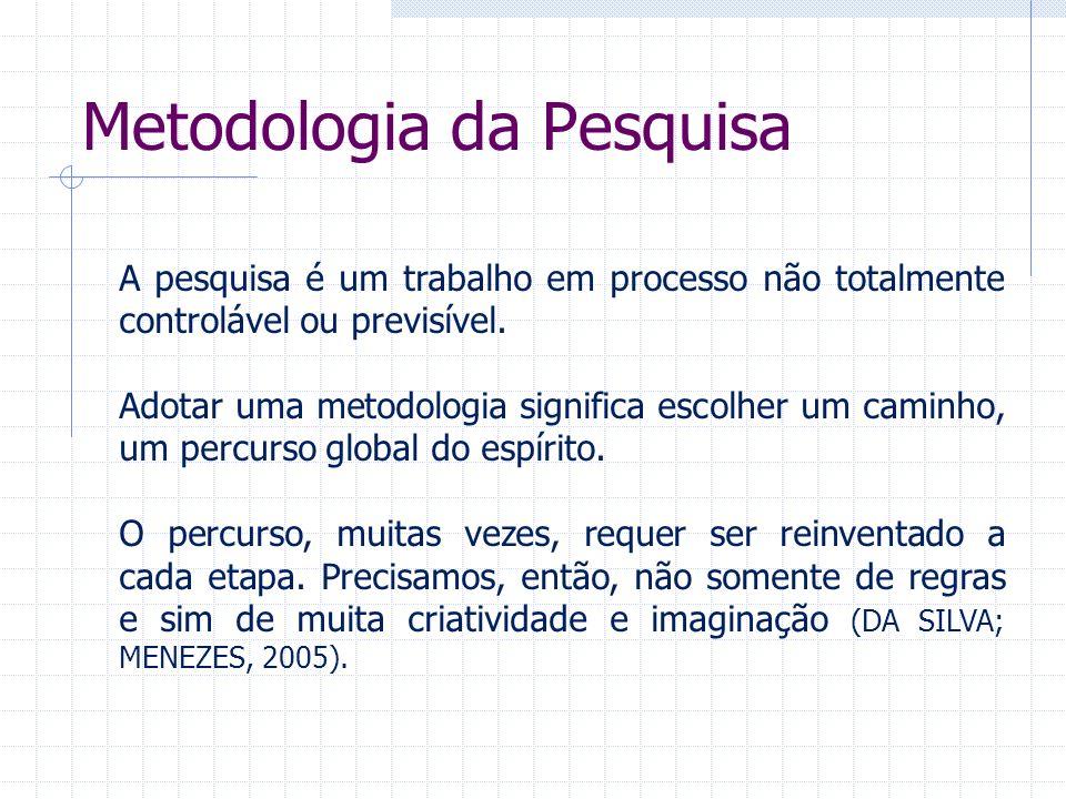 Metodologia da Pesquisa A pesquisa é um trabalho em processo não totalmente controlável ou previsível. Adotar uma metodologia significa escolher um ca