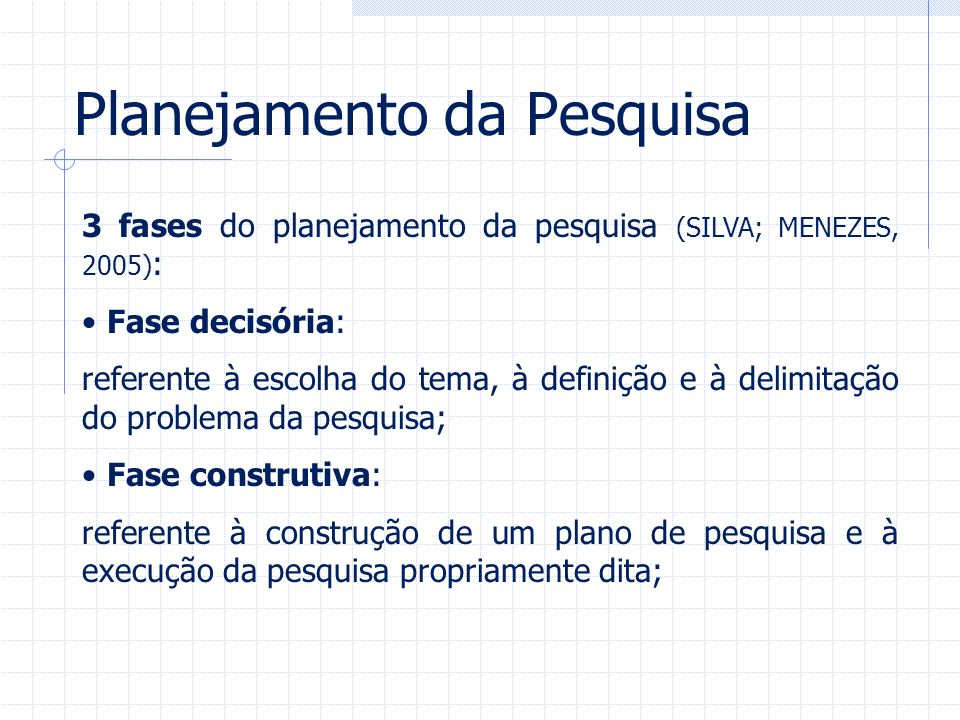 Planejamento da Pesquisa 3 fases do planejamento da pesquisa (SILVA; MENEZES, 2005) : Fase decisória: referente à escolha do tema, à definição e à del