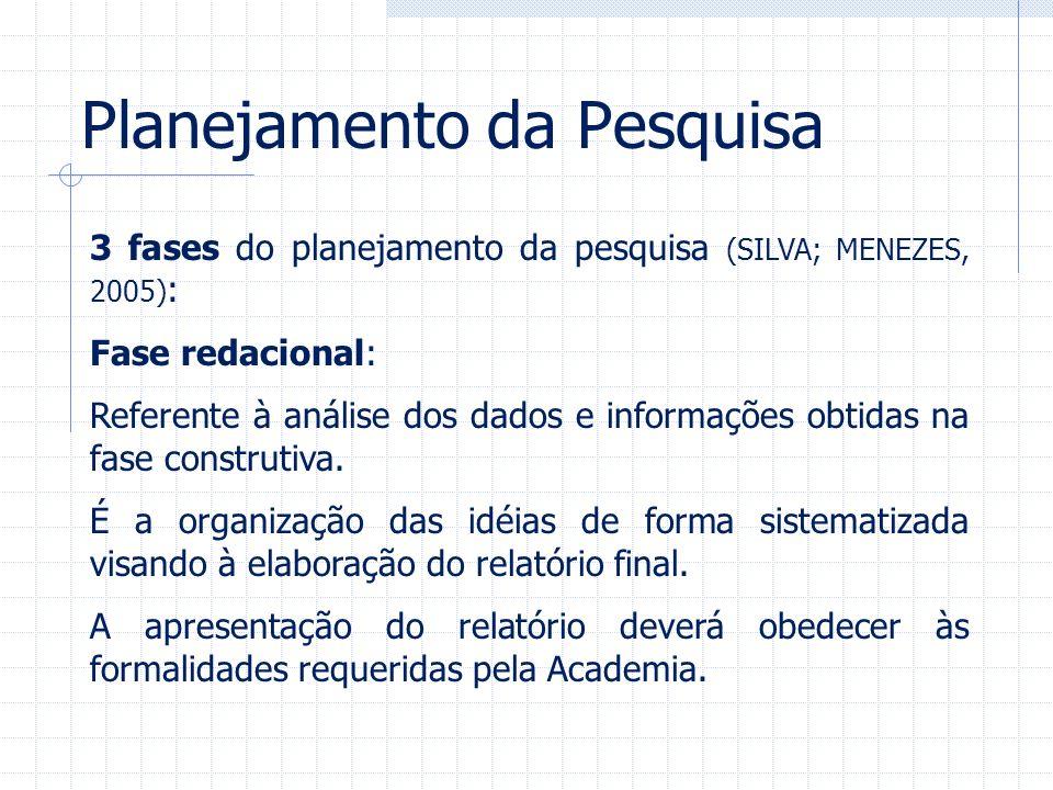 Planejamento da Pesquisa 3 fases do planejamento da pesquisa (SILVA; MENEZES, 2005) : Fase redacional: Referente à análise dos dados e informações obt