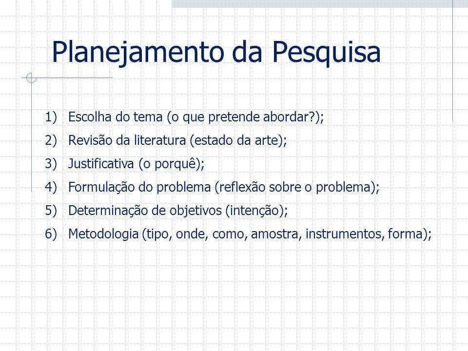 1)Escolha do tema (o que pretende abordar?); 2)Revisão da literatura (estado da arte); 3)Justificativa (o porquê); 4)Formulação do problema (reflexão